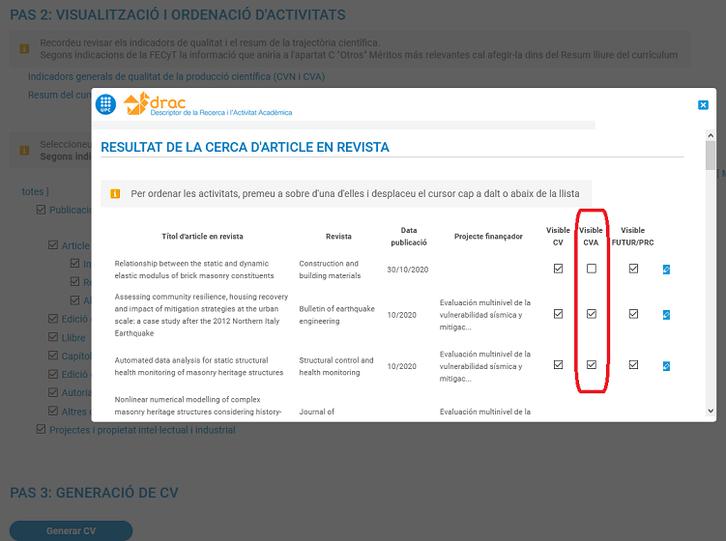 Marcar activitats pel CVA al pas 2 visualització